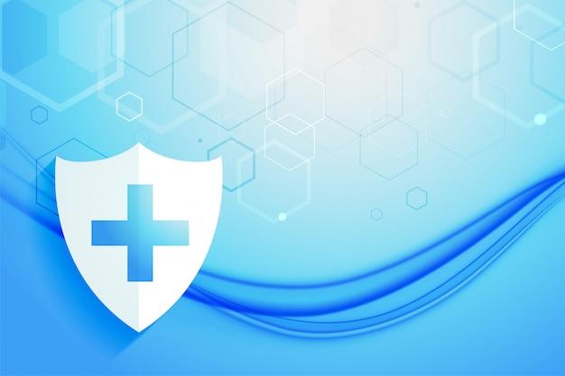 医療ヘルスケアシステム保護シールド背景デザイン 無料ベクター