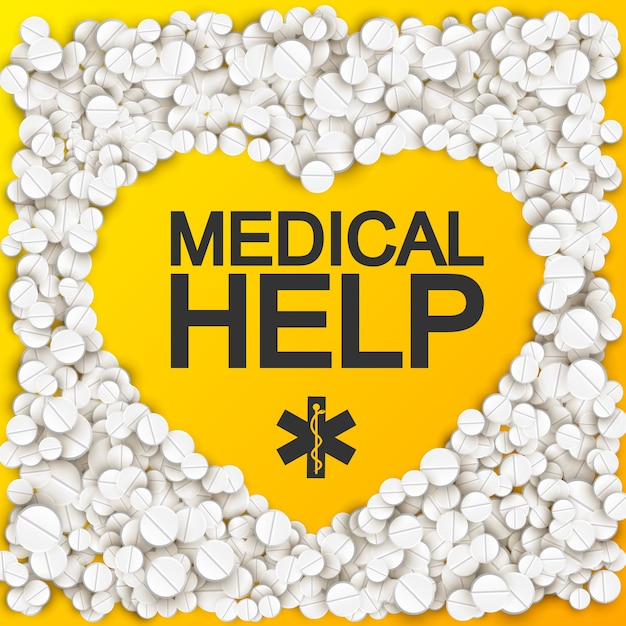 Medical help with heart forming inscription caduceus pills and drugs Free Vector