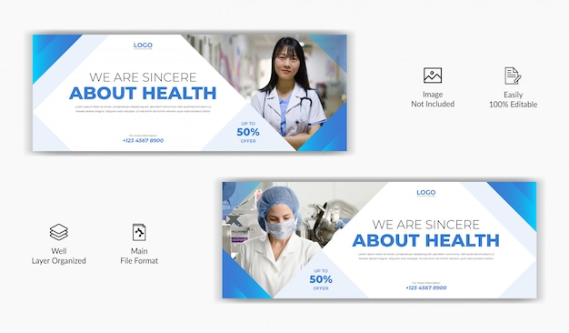 医療病院ヘルスケアセンターソーシャルメディア投稿facebookカバーページタイムラインオンラインウェブサイトバナーテンプレート Premiumベクター