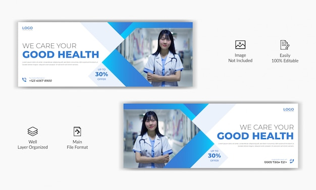 医療病院ヘルスケアセンターソーシャルメディア投稿facebookカバーページタイムラインweb広告バナーテンプレート Premiumベクター