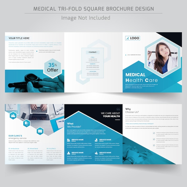 Medical or hospital square trifold brochure Premium Vector