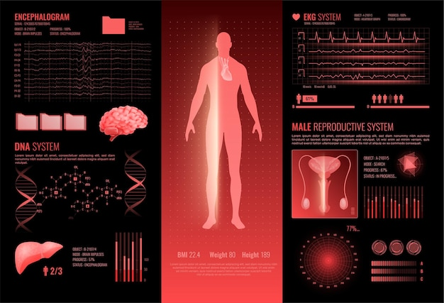 Medical hud interface infographics layout with ekg dna encephalography male reproductive information sections Free Vector