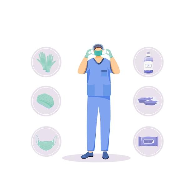 Medical hygiene products flat concept illustration Premium Vector