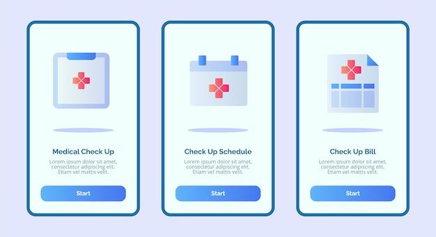 Медицинский значок график медицинского осмотра счет для мобильных приложений шаблон баннерной страницы ui Premium векторы
