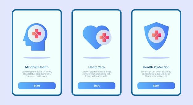 Медицинский значок разум полное здоровье здоровье сердце охрана здоровья для мобильных приложений шаблон баннер страницы пользовательского интерфейса Premium векторы