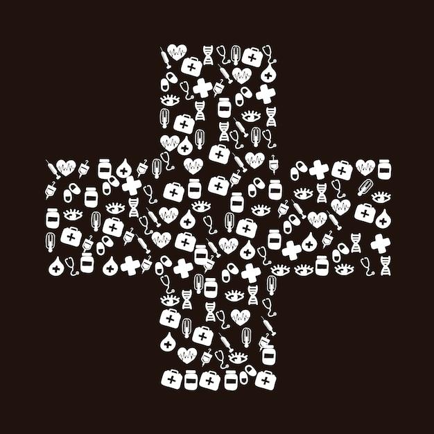 Medical icons over black background vector illustration Premium Vector