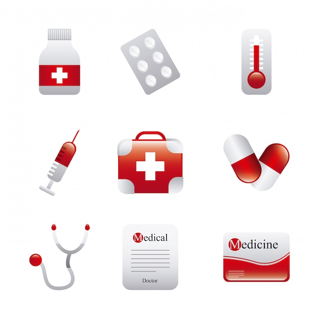 Medical icons over white background vector illustration Premium Vector