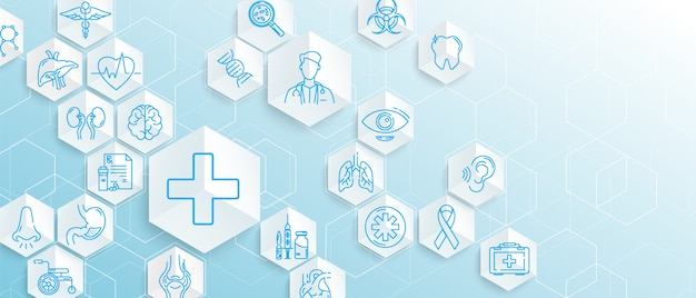 Medical icons with geometric hexagons shape medicine and science concept background Premium Vector