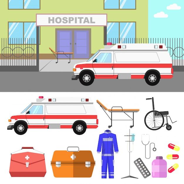 Medical illustration with hospital and ambulance car. Premium Vector