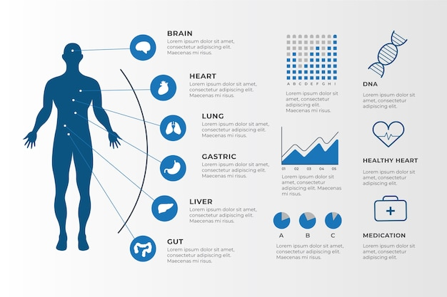 Medical infographic elements collection Free Vector