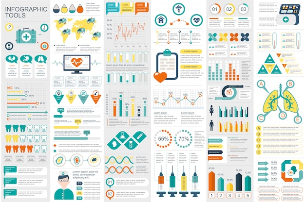 Medical infographic elements data visualization vector design template Premium Vector