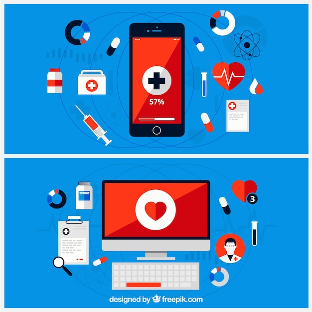 Medical infographic with computer and mobile phone Free Vector