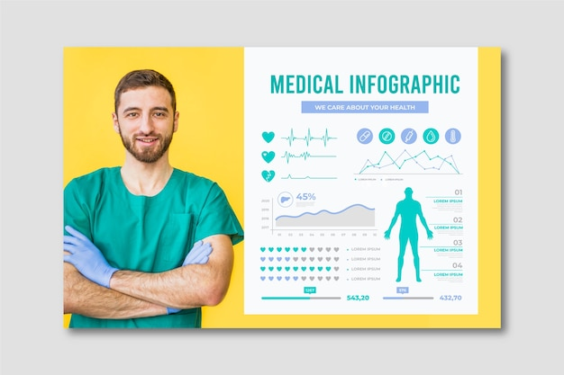 Medical infographic with doctor Free Vector