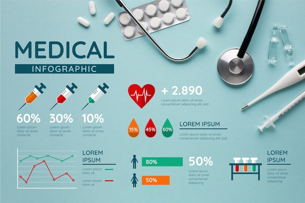 Medical infographic with photo Free Vector