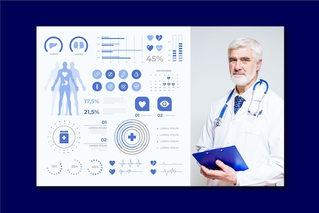 Medical infographic with professional doctor Free Vector