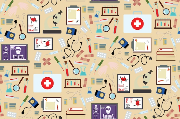 Medical instruments and medicament pattern background in flat style design Premium Vector
