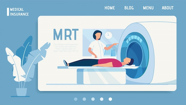 Medical insurance landing page offer mrt diagnosis Premium Vector