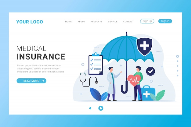 Medical insurance landing page template Premium Vector