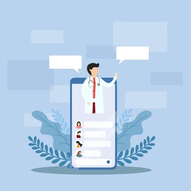 Medical internet consultation concept. Premium Vector