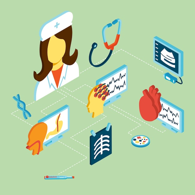 Medical isometric icons Free Vector