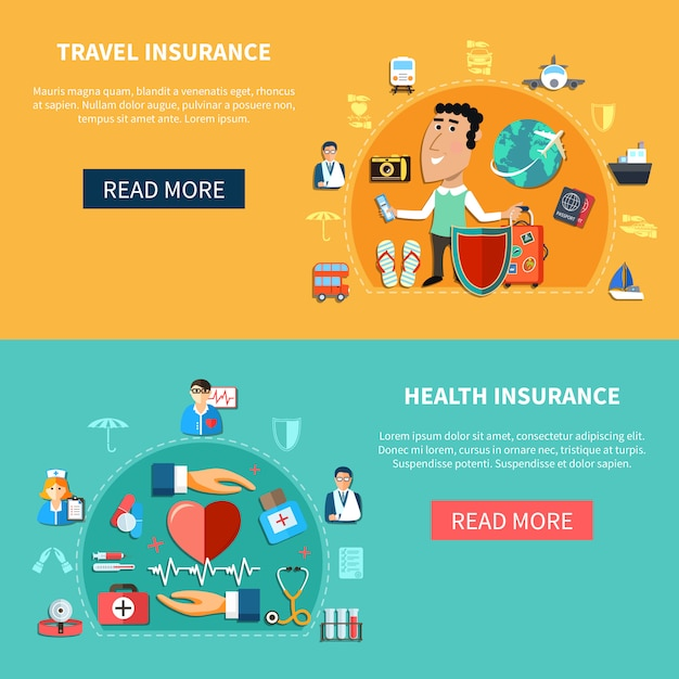 Medical and journey insurance horizontal banners Free Vector