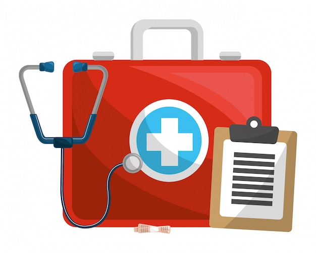 Medical kit with accesories Premium Vector