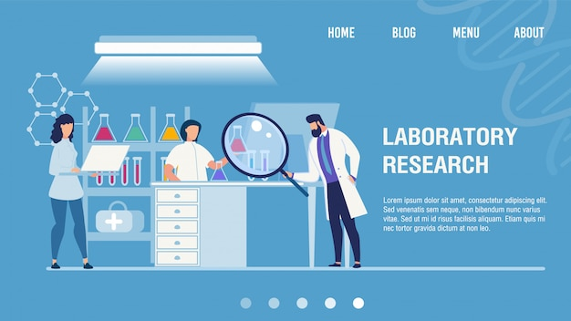 Medical laboratory research center landing page Premium Vector