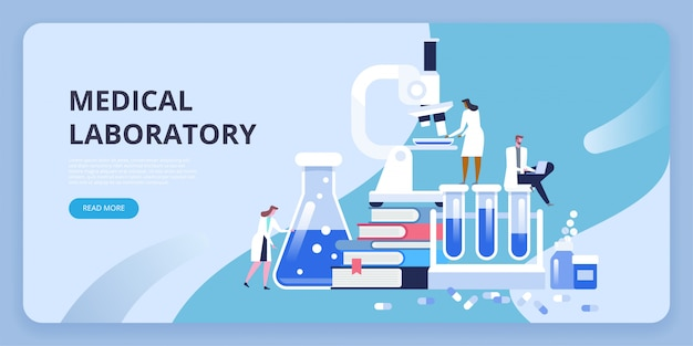 Medical laboratory research with microscope, science glass test tube, books and pills. Premium Vector