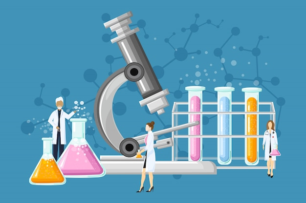 Medical laboratory with glass tubes illustration Premium Vector