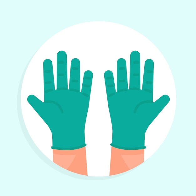 Medical latex blue gloves for protection Free Vector