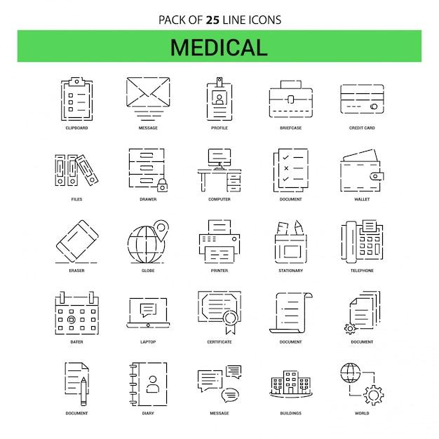 Набор значков медицинской линии - 25 пунктирных линий Premium векторы