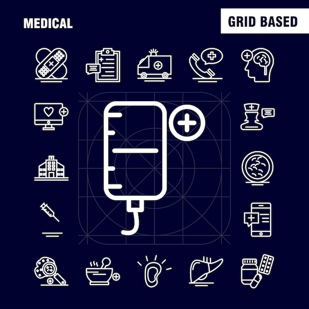 Medical  line icons set for infographics Free Vector