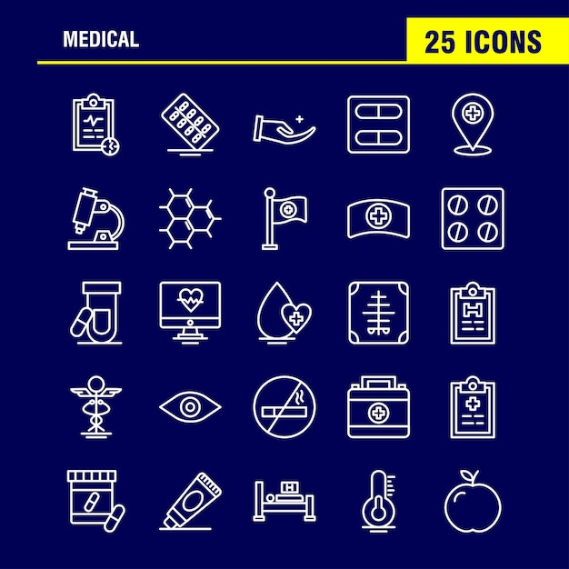 Medical  line icons set Free Vector