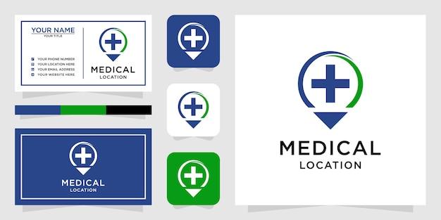 ラインアートスタイルと名刺と医療の場所のロゴ Premiumベクター