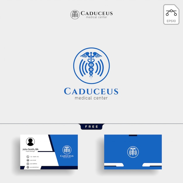 Medical logo template with business card Premium Vector