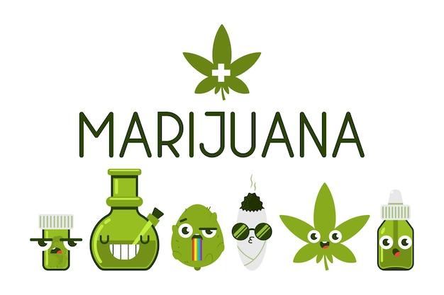 Набор забавных персонажей медицинской марихуаны, изолированные на белом фоне. Premium векторы