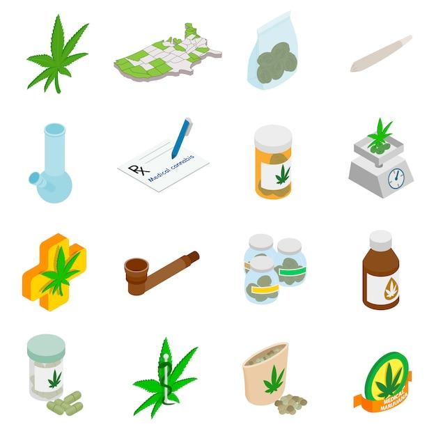 Medical marijuana icons in isometric 3d style on white Premium Vector