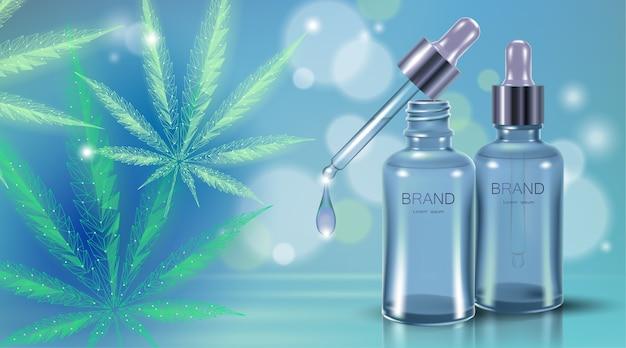 医療用マリファナオイルリーフ。医療の痛みの治療の概念を合法化します。大麻雑草薬ガラス瓶のシンボル。ピペット透明な現実的な処方イラスト。 Premiumベクター