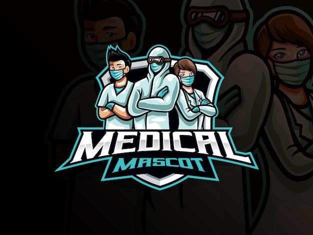 Medical mascot esport logo . medical team mascot   logo. front line health mascot ,   for esports team. Premium Vector