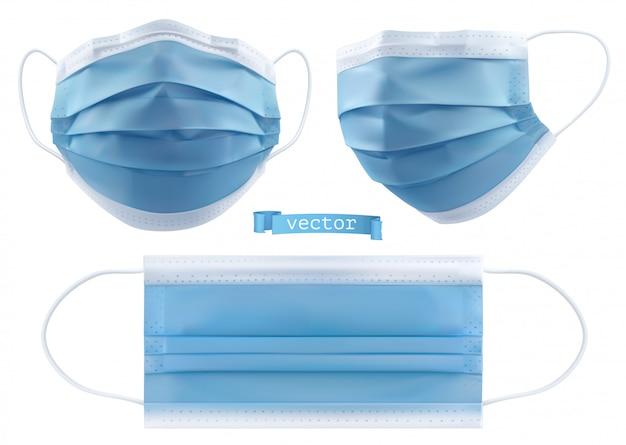 의료 마스크, 수술 마스크, 바이러스 및 감염 보호. 3d 현실적인 개체 프리미엄 벡터