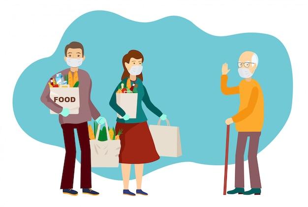 Medical masked volunteers brought food to an elderly man. volunteer social worker delivers grocery to old man. coronavirus pandemic. epidemic.   flat illustration. taking care of older people. Premium Vector