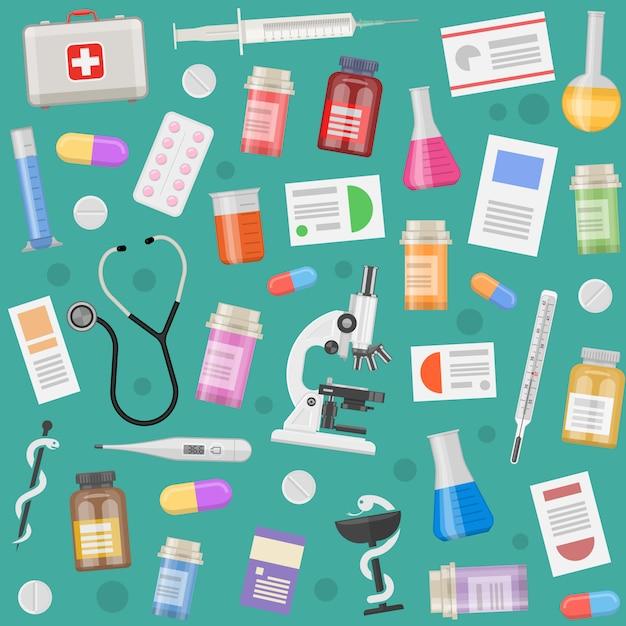 Образец медицинских предметов с рецептурным оборудованием и инструментами, таблетки и капсулы Бесплатные векторы