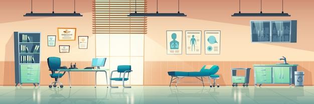 診療所のインテリア、医者のものと空のクリニックルーム、ソファ、椅子、洗面台のある病院、薬用ロッカー、テーブル、コンピューター、壁の漫画イラストの医療援助バナー 無料ベクター