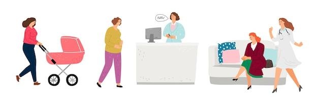 Приемная медицинского кабинета. гинеколог, кабинет педиатра. плоские женские персонажи, врачи и пациенты, векторные иллюстрации Premium векторы