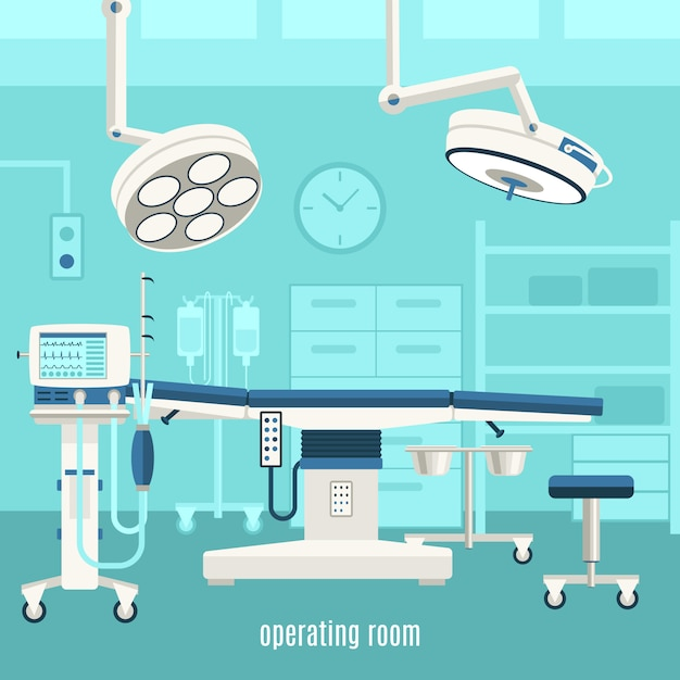 Medical operating room poster Free Vector