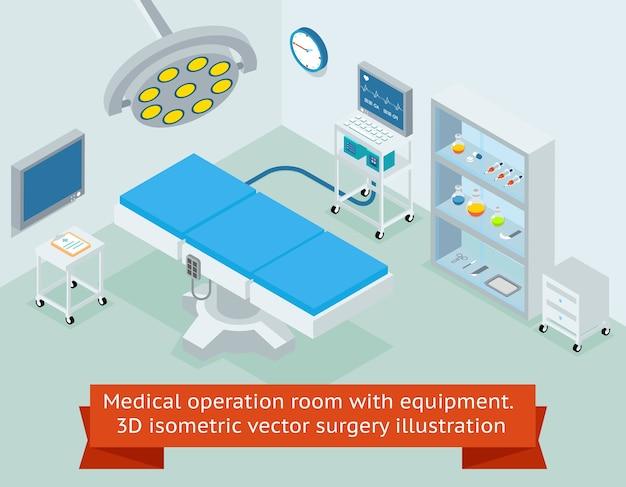 장비를 갖춘 의료 수술실. 병원 및 의학, 클리닉 외과 수술. 아이소 메트릭 벡터 수술 무료 벡터