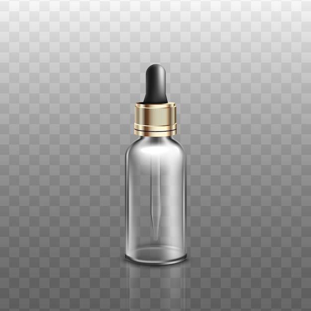 透明な背景に、現実的なスポイト付きの医療または化粧品のガラス瓶。スポイトまたは液体アロマ製品の容器。 Premiumベクター