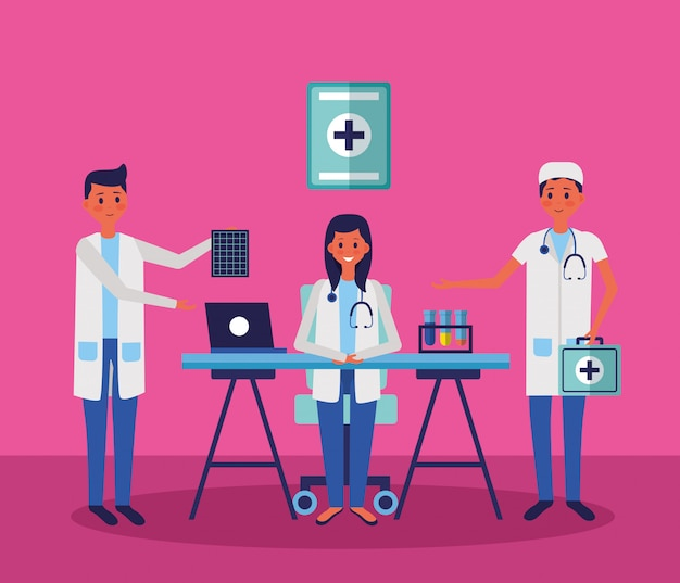 Medical people staff Free Vector