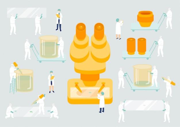 Управление коллективом медицинского персонала, миниатюрная сборочная лаборатория, персонал, крошечные люди, исследование вируса covid-19 метафора научной лаборатории плакат или социальный баннер иллюстрация изолированный фон Premium векторы