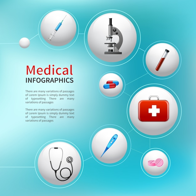 Medical pharmacy ambulance bubble infographic with realistic healthcare icons vector illustration Free Vector